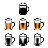 Símbolos de la taza de cerveza Imágenes de archivo libres de regalías