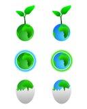 Símbolos de la tierra verde stock de ilustración