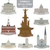 Símbolos de las ciudades de los E.E.U.U. Imágenes de archivo libres de regalías