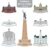 Símbolos de las ciudades de los E.E.U.U. Fotografía de archivo libre de regalías