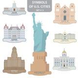 Símbolos de las ciudades de los E.E.U.U. Fotos de archivo libres de regalías