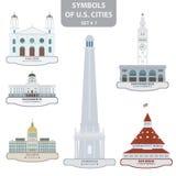 Símbolos de las ciudades de los E.E.U.U. Fotografía de archivo