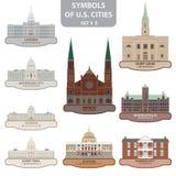 Símbolos de las ciudades de los E.E.U.U. Foto de archivo