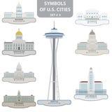 Símbolos de las ciudades de los E.E.U.U. Imagen de archivo