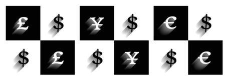 Símbolos de las divisas Imágenes de archivo libres de regalías