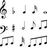 Símbolos de las notas musicales Imagen de archivo