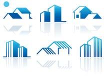 Símbolos de las propiedades inmobiliarias ilustración del vector