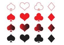 Símbolos de las tarjetas que juegan stock de ilustración