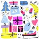Símbolos de las vacaciones de invierno del Año Nuevo s y de la Navidad ilustración del vector