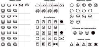 Símbolos de lavagem Fotografia de Stock Royalty Free
