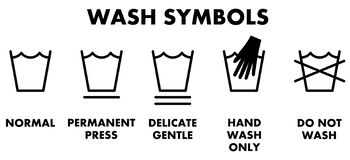 Símbolos de lavagem da lavanderia, ícones para o tipo diferente de lavagem ilustração stock
