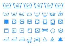 Símbolos de lavagem do cuidado, grupo do ícone do vetor Fotografia de Stock