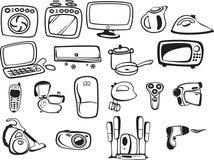 Símbolos de los aparatos electrodomésticos y electrónico Imagen de archivo