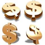 símbolos de los dólares del oro 3D Imagen de archivo libre de regalías