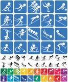 Símbolos de los deportes de invierno Fotografía de archivo