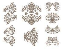 Símbolos de los dragones en estilo tribal Fotos de archivo