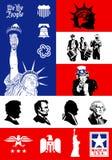 Símbolos de los E.E.U.U. - el icono fijó con el fondo de la bandera libre illustration