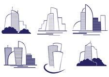 Símbolos de los edificios ilustración del vector