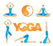 Símbolos de los iconos de la yoga Imagen de archivo libre de regalías
