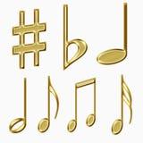 Símbolos de música del oro Fotos de archivo libres de regalías