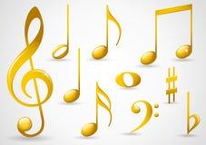 Símbolos de música do ouro Fotos de Stock Royalty Free
