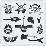 Símbolos de música do rolo do ` do ` n da rocha, etiquetas, logotipos e elementos do projeto Imagens de Stock Royalty Free