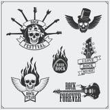 Símbolos de música do rolo do ` do ` n da rocha, etiquetas, logotipos e elementos do projeto Imagens de Stock