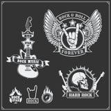 Símbolos de música do rolo do ` do ` n da rocha, etiquetas, logotipos e elementos do projeto Imagem de Stock Royalty Free