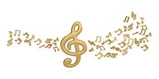 Símbolos de música e notas grandes da música ilustração 3D Ilustração do Vetor