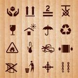 Símbolos de manipulação e de embalagem Fotografia de Stock