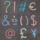 Símbolos de marcas de pontuação, matemáticos & de moeda Foto de Stock Royalty Free
