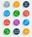 Símbolos de moda planos del zodiaco con las sombras Imagenes de archivo