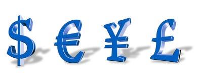 Símbolos de moeda Imagens de Stock Royalty Free