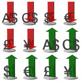 símbolos de moeda 3D Fotografia de Stock Royalty Free