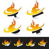 Símbolos de moeda da flama de Swoosh ilustração royalty free