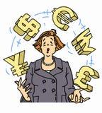 Símbolos de moeda de mnanipulação da mulher de negócios ansiosa Fotografia de Stock