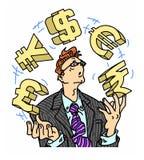 Símbolos de moeda de mnanipulação do homem de negócios ansioso Imagem de Stock Royalty Free