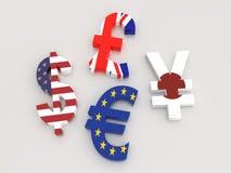 símbolos de moeda do major 3D Fotos de Stock