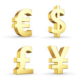 Símbolos de moeda dourados Fotos de Stock Royalty Free