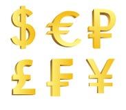 Símbolos de moeda dourados Fotos de Stock