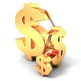 Símbolos de moeda dourados do dólar com escadas Fotos de Stock