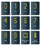 Símbolos de moeda dourados - o número de Fotografia de Stock Royalty Free