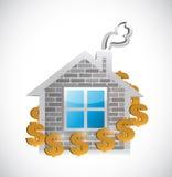 Símbolos de moeda em torno de uma casa cara Imagens de Stock Royalty Free
