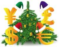 Símbolos de moeda no chapéu do inverno Fotos de Stock