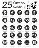 25 símbolos de moeda, países e seu nome em todo o mundo Fotografia de Stock Royalty Free