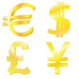 Símbolos de moneda de oro Imagen de archivo libre de regalías