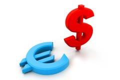 Símbolos de moneda del dólar y del euro Imagen de archivo libre de regalías
