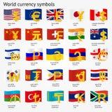 Símbolos de moneda del mundo con el sistema del icono de la bandera Iconos de la muestra del dinero con las banderas nacionales I Imagen de archivo