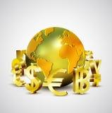 Símbolos de moneda del mundo que mueven alrededor el mundo de oro 3d, el vector y el ejemplo Fotografía de archivo