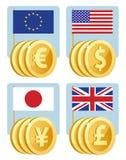 Símbolos de moneda: euro, dólar, yen, libra esterlina Banderas del th Fotografía de archivo libre de regalías